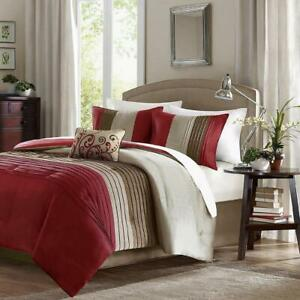 Comforter Set 5 Pc Queen Red Striped Knife Pleated Sections Elegant Throw Pillow