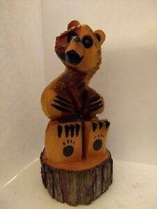 Chainsaw Wood Carved Bear Sitting on Stump $54.25