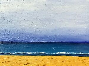 Impressionist Ocean Oil Painting Wood Panel Signed Cloudy Beach Seascape Artwork