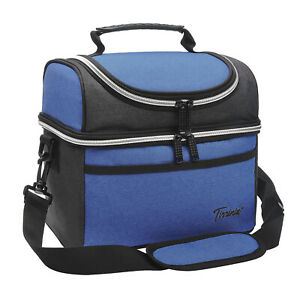 Insulated Lunch Bag, Leakproof Thermal Bento Cooler Tote Dual Compartment