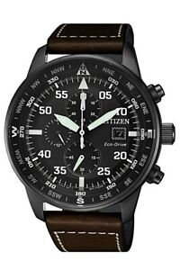 Citizen Eco Drive Men's Chronograph Brown Leather Strap 44mm Watch CA0695 09E