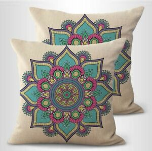 set of 2 lotus flower mandala yoga meditation decorative pillowcase