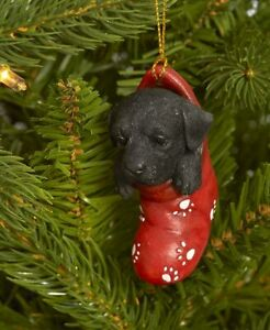 Dog & Cat Ornaments Christmas Tree Ornament Holiday Decor Black Lab in Stocking