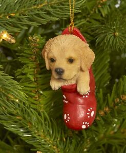 Dog & Cat Ornaments Christmas Tree Ornament Holiday Golden Retriever in Stocking