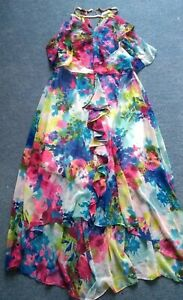 Kaleidoscope Floral Print Dress Gold Chain Neck Detail 14 Cruise Party Wedding