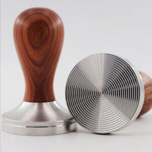 Barista Espresso Coffee Tamper Stainless Steel Base Wooden Handle Press Tool $19.86