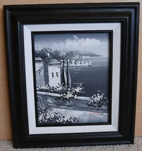 Seaside oil painting black and white by Taylor
