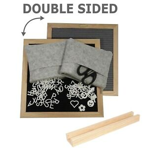 2-Sided Letter Board 10x10 680 letters wood frame & stand scissors & 2 felt bags