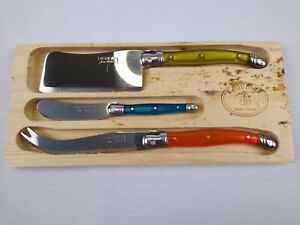 Laguiole Jean Dubost Multicolored Cheese Knife SET 3 Pc: Fork,Cleaver,spreader