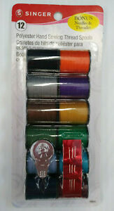 SINGER Polyester Hand Sewing Thread Spools 12 Spools w Needles amp; Threader $6.49