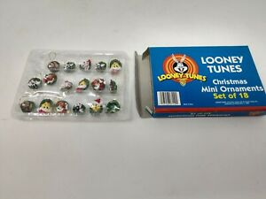 Looney Tunes Set of 17 Mini Holiday Ornaments Vintage 1998 Taz Tweety Bugs