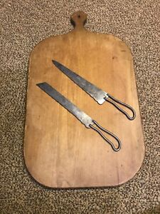 Antique Primitive Wood Cutting CHEESE Bread Board FARMHOUSE W Bread Knife Set!!!