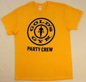 Golds Gym Party Crew T shirt M Medium Mustard Yellow Workout Training Muscle $17.99