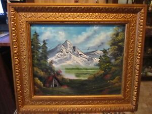 Beautiful Original Large Signed Oil on Canvas Framed Painting Landscape 27 X 23 $37.50