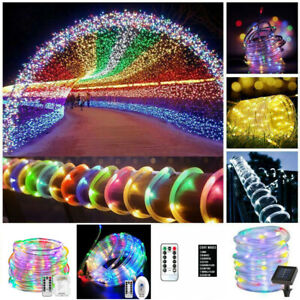 Solar Battery LED Tube Fairy String Strip 8 Play Modes Remote Control USB Lights