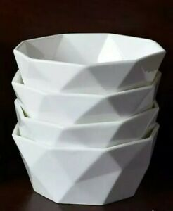 Delling 22 Oz Geometric Cereal Bowls Set of 4 for Soup and More