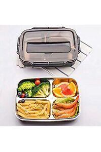 Bento Lunch Box Food Container W 4 Compartment Stainless Steel