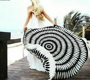 Round Beach Towel Tessellate Mandala Summer Large Microfiber Towels Blankets New