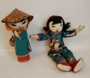 Vintage lot of 2 Chinese Dolls Vintage made in Taiwan Republic of China $19.99