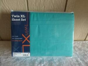 $35.00 Sanders Microfiber Twin 3-Pc Sheet Set, TXL , Ceramic  -FITS DORM BEDS