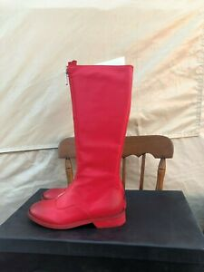NINE SEVEN WOMENS GENUINE LEATHER TOE RIDING KNEE HIGH RED BOOTS SIZE 7.5