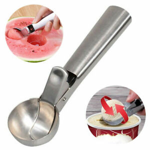 Ice Cream Scoop Easy Trigger Stainless Steel Cookie Water Melon Dough Spoon USA