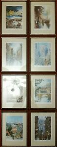 Vintage Set of 8 John Speirs SignDated Lithographs Worlds Most Romantic Cities $299.99
