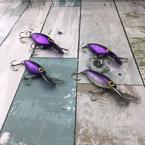 Lot Of 4 Storm Pre Rapala ThinFin Hot'N Tot Crankbait Fishing Lures Purple