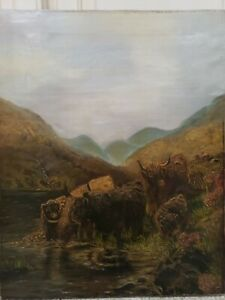 Large Antique Oil On Canvas Cattle By The River. Signed. Circa 1911.