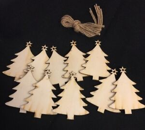 10 Wooden Christmas Tree Hanging Decor Ornament DIY Present Name Tags...