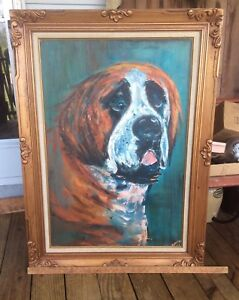 Large Oil On Canvas Painting St. Bernard Signed Rahvo Gilded Frame $449.99