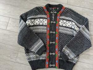 vintage NORWEGIAN norway WOOL knit sweater LARGE dale BARRE ski cardigan