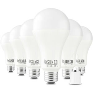 Sunco Lighting 6 Pack A21 Rechargeable Emergency LED Bulb 11W 3000K Warm White