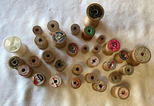 Lot 31 Vintage Thread Spools Various Sizes Wood Plastic $22.00