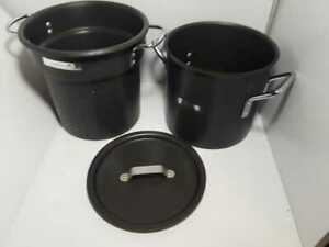 Calphalon Commercial 8 qt Stock Pot with Pasta Strainer steamer 808 lid Nice!!!!