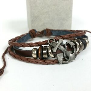 Silver Metal Color Adjustable Synthetic Brown Leather Anchor Bracelet