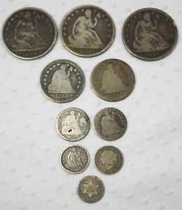 Lot of 10-Miscellaneous Coins1800's Type 3c10c 25c 50c Seated Liberty- Silver