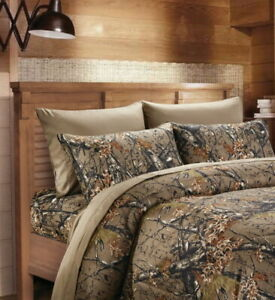 NATURAL BROWN CAMO 6pc Queen Sheet set : CAMOUFLAGE FLAT FITTED + 4 PILLOWCASES