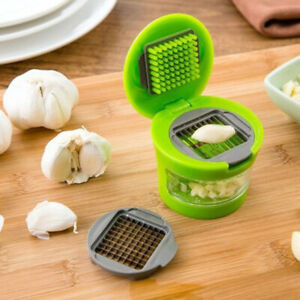 Garlic Press Chopper Ginger Onion Crusher Kitchen Gadget Easy to Use Green