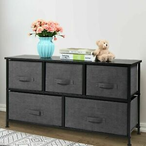 2 Tier 5 Drawers Storage Cabinet Dresser Tower Chest Fabric Home Furniture