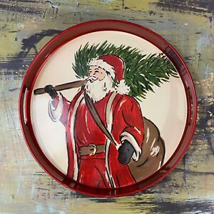 Threshold Target Holiday Christmas Serving Tray Santa Claus Christmas Tree 13.5