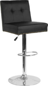 Flash Furniture Chrome And Metal Bar Stool In Black Leather DS 8411 BLK GG