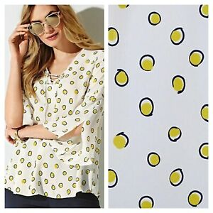 Kaleidoscope Size 10 Ivory Mustard Spot TOP Eyelet Swing Casual Day Evening £43