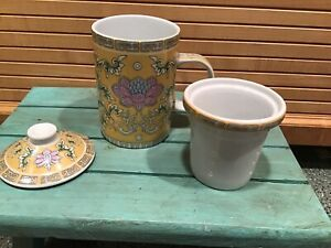 3 PIECE CHINESE PORCELAIN TEA CUP MUG WITH LID & INFUSER STRAINER Bird & FLOWERS