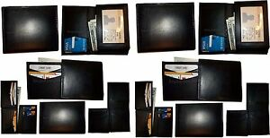 Lot of 12 New Style Trifold Leather Man's Black wallet 7 Credit cards ID case BN