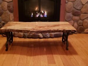 Live edge table Spalted maple finished with epoxy on antique legs $1500.00