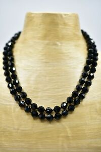 Les Bernard Signed Vintage Necklace Strand Black Glass Crystal Beaded Shiny Bin2 $67.12