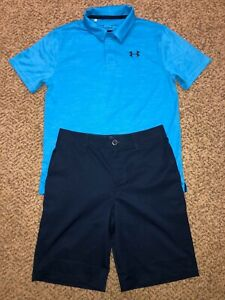 Boys Under Armour Heatgear Navy Golf Shorts Blue Shirt Outfit Youth Large 14 $34.99