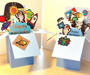 Handmade Space or Alien Pop up Exploding Box Card boy birthday Free ship US $8.99