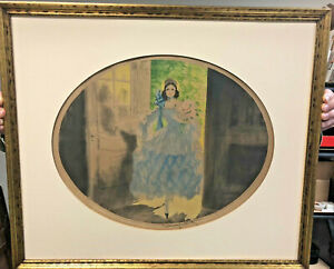 Original Louis Icart Colored Etching Hand Signed After The Walk 1929